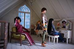 """You have a beautiful long black hair!!"" (cute-little-dolls) Tags: toy miniature doll furniture scissors dollhouse momokodoll ruruko rurukodoll"