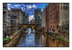 The River Irwell (A Digital Artist) Tags: uk bridge sky building water architecture clouds river manchester northwest lancashire 1855mm citycentre irwell kevinwalker canon1100d