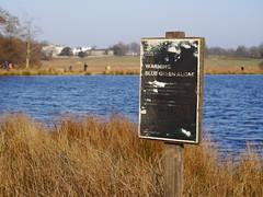 Blue Green Algae (martin_rees) Tags: park lake london sign warning weathered richmondpark richmonduponthames lumixgvario45150mmf4056asph