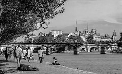 Along the Bank of the River Seine, Paris. (steve.gombocz) Tags: blackandwhite paris scenery noiretblanc cityscapes olympus cityscenery cityviews riverseine bwphotos olympuscamera schwartzundweiss
