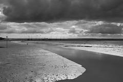 Mud/Water/Clouds (andyfpp) Tags: blackandwhite bw water clouds blackwhite fuji mud tide textures filter fujifilm essex leighonsea redfilter thamesestuary aperture3 x100t