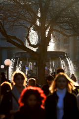 red hair (Wackelaugen) Tags: street red blur tree water fountain backlight canon germany hair photography eos photo europe stuttgart blurred explore googlies explored wackelaugen
