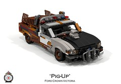 Ford Crown Victoria 'Pig-Up' (lego911) Tags: auto bw usa ford car modern america model rat lego render police australia utility pickup victoria ute smell frame falcon rod crown 102 concept 2008 coupe challenge v8 cad lugnuts fg povray ratrod 2000s moc bof ldd miniland foitsop lego911 pigup coupeutility ismellamodernrat