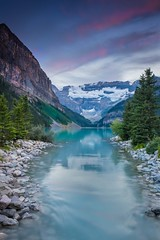 Lake Louise Sunset (thunderheart2013) Tags: canada nationalpark glacier alberta northamerica banff lakelouise moraine morainelake valleyofthetenpeaks