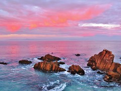 Monterey Pink Sunset (moonjazz) Tags: ocean california travel pink light sky color photography monterey twilight soft surf pacific pastel shoreline hues
