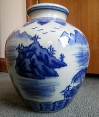Ceramic Vase. (dccradio) Tags: urn ceramic nc northcarolina pot vase oriental glazed blueandwhite lumberton ceramicpot glazedpot robesoncounty