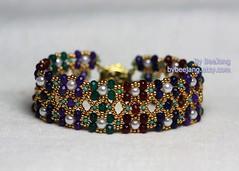 Samirah (BeeJang - Piratchada) Tags: blue red green agate gold golden purple handmade violet seed jewelry bracelet bead whte pearl amethyst ruby miyuki emerald beading beaded sapphire beadwork beadweaving rondelle czec