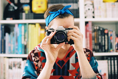Twenty eight. (Hello i'm Wild !) Tags: birthday camera light selfportrait reflection film home girl analog ink 35mm mirror dof hand skin bokeh books tattoos canonae1 kodakportra400