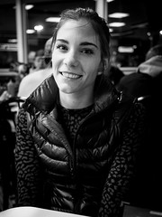 miss bright eyes (contemplative imaging) Tags: portrait people blackandwhite bw woman usa white black girl monochrome smile smiling lady night digital america four lumix person photography photo midwest snapshot diner olympus monochromatic american monday 43 thirds 3x4 2016 midwestern monocrhome fourthirds ep5 contemplativeimaging ronzack lumg20 20160411 cimisc20160412ep5 cimisc20160412ep5100