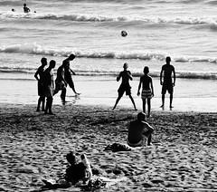 (simonholmes1982) Tags: blackandwhite bw beach football locals morocco agadeer