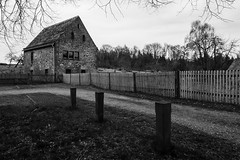 place to stay for peace and beauty (Kim S. Landgraf) Tags: trees blackandwhite house fence landscape loneliness kim cloister 12mm emptiness omd kimlandgraf amelungsborn holenberg