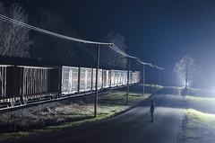 Watching Trains at Night (a409will) Tags: road railroad fog night rural train strobe strobist