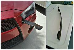 Close call ! (Dave* Seven One) Tags: auto car ouch accident damage oops interstate blade mower mowerblade