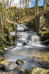Down in the valley (davepsemmens) Tags: wet water flow waterfall moss rocks stream peakdistrict tranquility peaks cascade tranquil