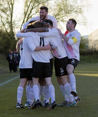 Robbie Halliday is swamped by his delighted team-mates (Stevie Doogan) Tags: park bon west accord scotland scottish first juniors division league holm clydebank superleague shotts bankies mcbookiecom