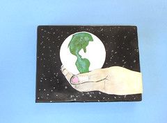 world in her hands http://playsculptlive.blogspot.ca/2016/04/the-world-in-her-hands.html (playsculptlive) Tags: sculpture hands earth polymerclay planet pcagoe playsculptlive