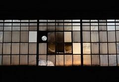 'Window' ii. (miranda.valenti12) Tags: light sunset sunlight abandoned geometric broken window glass factory pattern box warehouse boxes cracks