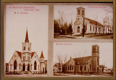 M E Church, Baptist Church, Lutheran Church, Postcard