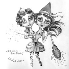 Siamese Witches (Enchanted Fields) Tags: halloween sisters costume october witch originalart siamese witches magical broom graphite enchanted pencildrawing siamesetwins inkart goodorbad