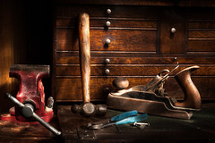 On the Old Workbench (lclower19) Tags: tools workbench hammer plane wirecutters toolbox flashlight lightpainted red blue wood nails 522016 252 ghettolighting stilllife odt singlelightsource