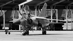 Mirage F1 In Black & White. (spencer.wilmot) Tags: blackandwhite france monochrome plane airplane fighter aircraft aviation jet mirage airbase militaryaviation montdemarsan xmj frenchairforce miragef1 ba118 lfbm