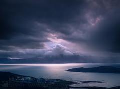 The Blue Isle (GenerationX) Tags: blue sea sky snow mountains water clouds river landscape outdoors evening scotland clyde unitedkingdom dusk scottish nuclear neil gb powerstation arran barr goatfell ayrshire fairlie firthofclyde hunterston soundofbute littlecumbrae gullpoint kaimhill sannoxbay canon6d fairlieroads fairliemoor