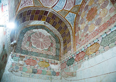 elaborate decorations of the meditation room of the tomb of shah nematollah vali, Kerman province, Mahan, Iran (Eric Lafforgue) Tags: decorations detail building history grave up horizontal architecture religious persian ancient worship shrine asia iran islam traditional religion tomb decoration culture persia nobody ceiling architectural historic indoors dome historical iranian sight spirituality orient cultural islamic decorated mahan nematollah  placeofinterest   iro  builtstructure colourpicture kermanprovince  shahnematollahvalishrine irandsc07718
