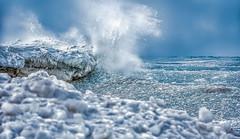 """Wicked"" (limebluphotography) Tags: ocean winter sea lake storm love ice frozen frost waves hate splash frigid"