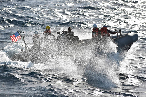 USS Ross conducts small boat operations.