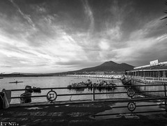 Vesevus #6 (Thru@lens) Tags: sunset sea sky reflection monochrome lines clouds boats harbor blackwhite outdoor perspective naples vesuvius cloudporn intersections harborage skyporn