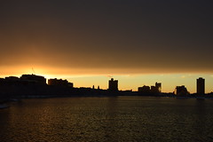 shoreline sunset  and clearing storm (hansntareen) Tags: winter sunset snow sunshine traffic shoreline clearingstorm