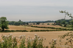 View of farmland through a gap in the hedgerow (hilofoz) Tags: uk england warwickshire camphill