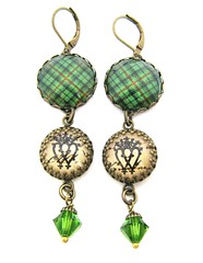 Ancient Romance Series - Scottish Tartans Collection - Urquhart Clan Tartan Earrings with Luckenbooth Charms on Antique Script Background and Fern Swarovski Crystal Beads