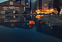 Degraded Dreams (SurrealBoy-) Tags: blue urban reflection architecture composition feel story dreams bluehour oranges colourful exploration chill feelings urbanphotography degradation bluedreams feelblue photofeature surrealboy