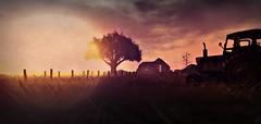 . nusquam . (. Charlotte .) Tags: life lighting sunset tractor tree barn farm country location sl second fench nusquam