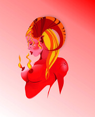 Demonia (fxcerveza) Tags: tattoo nipples flames bust topless pinup llamas busto pezones diabla demoness demonia artegrafico