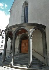 Chur (micky the pixel) Tags: door church schweiz switzerland stair suisse kirche treppe architektur porte chur altstadt tr martinskirche sule graubnden grischuna pforte