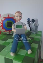 Minecraft Terraria closeup front (Cake Diane Custom Cake Studio (eyedewcakes)) Tags: birthday boy game grass cake computer modeling squares laptop tiles cube fondant gumpaste terraria minecraft