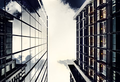 Somewhere in London (Bajo Rogan) Tags: city uk sky reflection building london history window glass clouds skyscraper concrete lights high nikon shadows outdoor steel centre capital center tall nikkor height d5300