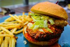 Buffalo Burger w/ Ranch Seasoned Lettuce, Bleu Cheese, and Fried Pickle - Table 9 (sheryip) Tags: food table buffalo burger 9 foodporn fries morgantown