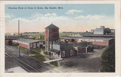 CEN Big Rapids MI c.1915 JONES & GREEN HARDWOOD FLOORING PLANT along the Grand Rapids & Indiana Tracks Logging Lumber and Wood Products Era (UpNorth Memories - Donald (Don) Harrison) Tags: travel usa heritage history tourism st vintage antique michigan postcard memories restaurants hotels trailer roadside upnorth steamship cafes excursion attractions motels mackinac cottages cabins campgrounds city bridge island car upnorthmemories rppc wonders big railroad michigan memories mac state parks entertainment natural harrison roadside ferry travel don tourist mackinaw stops upnorth straits ignace