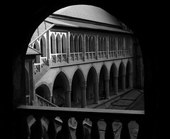 Corvin Castle (PM Kelly) Tags: bw black castle architecture europe arch romania frame column transylvania bnw corvin hunedoara vampair