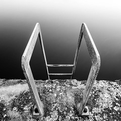 Ladder to the Abyss (B&W Edit) (f22 Digital Imaging) Tags: longexposure seascape abstract detail texture closeup landscape northumberland ladder seatonsluice northeastengland