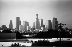 film (Drew Gallegos) Tags: california city sky urban blackandwhite slr film skyline architecture analog skyscraper 35mm landscape la landscapes blackwhite losangeles downtown 35mmfilm canonae1 blacknwhite dtla bnw blackandwhitephotography ilforddelta100 filmisnotdead