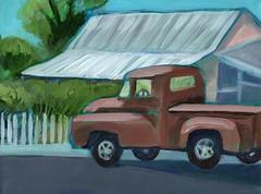 Jeffrey's Dodge (EllenJo) Tags: art truck painting pickup az cottonwood dodge artshow 9x12 tinroof smalltownlife acryliconcanvas localcharacter 86326 ellenjo oldtowncottonwood arizonaart ellenjoroberts oldtownframecoapril9