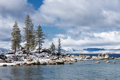 Trees and Snow, Sand Harbor, NV (4 Corners Photo) Tags: california shadow sky snow color tree water weather rock pine clouds rural landscape us spring scenery unitedstates nevada laketahoe boulder vegetation northamerica sierranevada sandharbor eldoradonationalforest laketahoenevadastatepark laketahoebasinmanagementunit 4cornersphoto