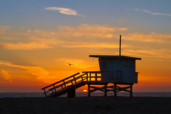 Sunset Over Salted Shores (RobATran) Tags: sunset sky birds silhouette clouds losangeles lifeguard malibu socal tamron zumabeach tamron70200 canon7d