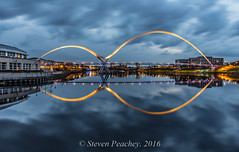 Infinity Reflections (Steven Peachey) Tags: uk bridge england sky water night canon reflections river landscape exposure cityscape footbridge dusk stocktonontees northeastengland rivertees ef1740mmf4l lee09gnd leefilters canon6d infinitybridge lee06gnd lightroom5 stevenpeachey