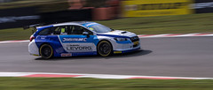 Jason Plato in new Subaru at 1/50th sec pan. (Graeme Andrews) Tags: motion blur pentax action 150 subaru panning motorsport btcc brandshatch motorsportphotographer subarulevorg 150thpanning
