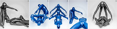 Steel Blue - special (llbdevu) Tags: blue boy bw white black shiny posing double gymnast tight bodysuit spandex contortion lycra catsuit llb superimposed skinsuit unitard zentai felxible